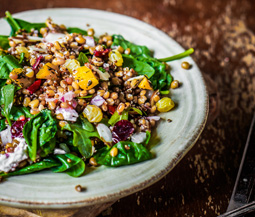 Spinach Salad with Tomato, Pine Nuts & Dried Fruit