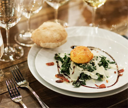 Kale Caesar Salad with Fried Poached Egg & Bacon Image