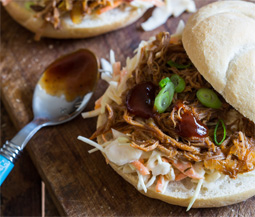 Pulled Pork Sandwich with Blue Cheese Slaw Image