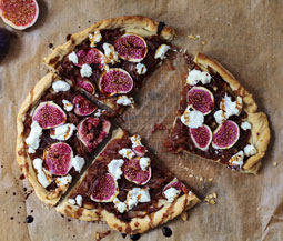 Caramelized onion, fig & goat cheese tart