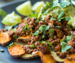 Spicy Ground Turkey & Sweet Potato Nachos
